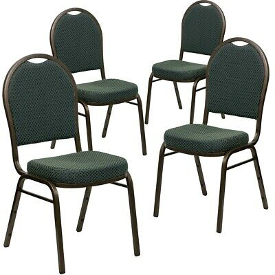 4 Pk. HERCULES Series Dome Back Stacking Banquet Chair with Green Patterned...