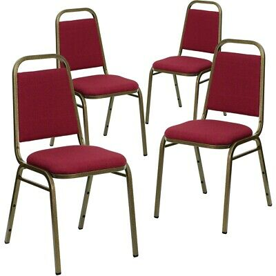 4 Pk. HERCULES Series Trapezoidal Back Stacking Banquet Chair with Burgundy...