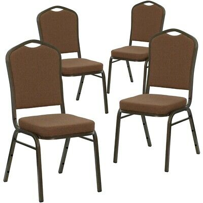 4 Pk. HERCULES Series Crown Back Stacking Banquet Chair with Coffee Fabric...