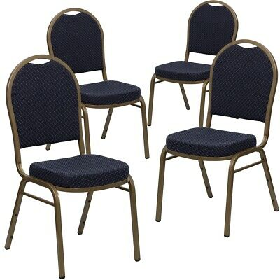 4 Pk. HERCULES Series Dome Back Stacking Banquet Chair with Navy Patterned...