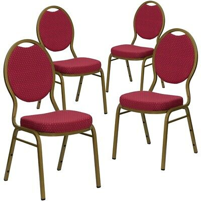 4 Pk. HERCULES Series Teardrop Back Stacking Banquet Chair with Burgundy...