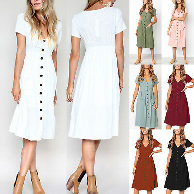 Womens Summer Midi Dress Ladies Button V-Neck Casual Pocket Party Swing Sundress