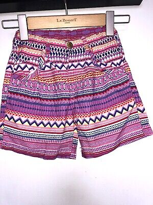🎁H&M Girls Pink Pattern Shorts Size 7-8 Years Lovely Condition