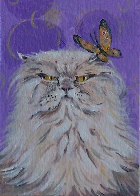 ACEO Original acrylic painting, white cat and the butterfly, Tanya Yelchaninova