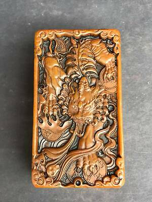 """3"""" Chinese antique shoushan stone handcarved beast set box seal statue"""
