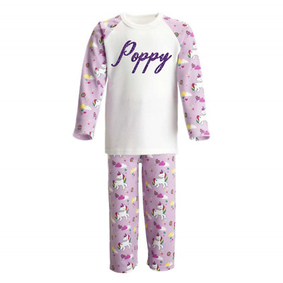 Personalised Name Unicorn Kids Pyjamas Children's Pjs Birthday Gifts Girls