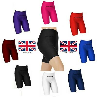 Girls Kids Stretchy Shiny Dance Running Sports Cycling Shorts Pants (Made in UK)
