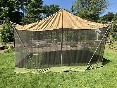 VINTAGE CANVAS SCREEN TENT 1960's Camel Mfg  Co  Military tent Maker