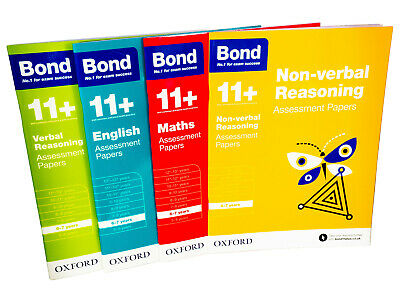 Bond 11+ Maths English Verbal Reasoning Assessment  4 Books For Age 6 - 7 Years