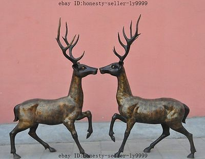 "55"" huge old chinese fine fengshui bronze animal Sika deer statue pair Sculpture"