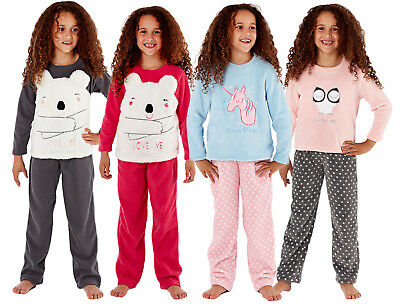 Girls Fleece Pyjamas Twosie Kids Lounge Set Unicorn Bear Princess Gift Set Size