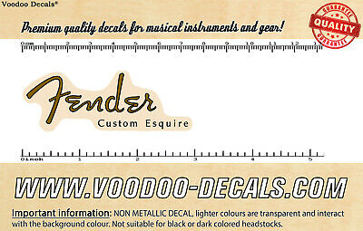 Fender Custom Esquire (Brown Logo) headstock waterslide decal