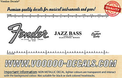 Fender Jazz Bass Jaco Pastorius (Grey Logo) headstock waterslide decal