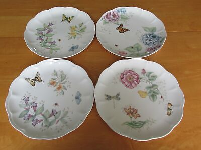 Lot 4 Beautiful Lenox Butterfly Meadow Dinner Plates with Various Designs