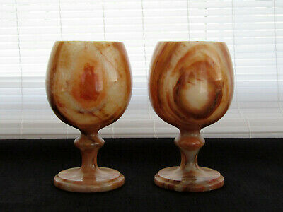 "Carved Alabaster Shades of Caramel Pair of Wine Goblets 5.25"" Tall"