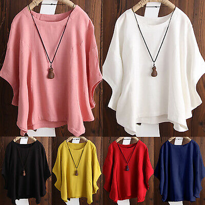 Chic Womens Linen Loose Shirts Flax Crew Neck Tops Long Sleeve Plus Size Casual