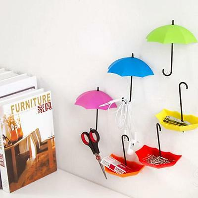 3Pcs Colorful Umbrella Wall Hook Key Glasses Wallet Hair Pin Holder Organizer MA