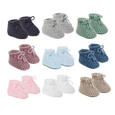 Baby Boys Girls 1 Pair Knitted Booties Soft Newborn Knitted Booties with Bow 354