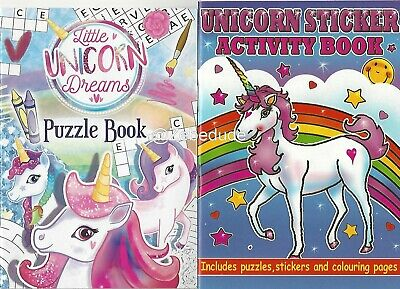 Set 2 x Children's Unicorns Colouring Puzzle Book Stickers Activity Girls Kids
