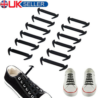 Easy No Tie Rubber Shoe Laces Black ShoeLaces Trainers Snickers Kids + Adults