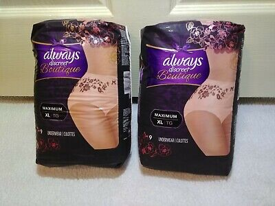 Always Discreet Boutique Incontinence Underwear Max Protection Size XL LOT OF 2