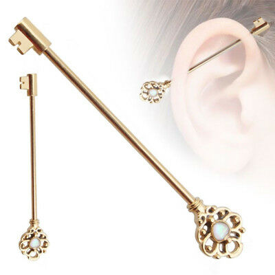 Key Industrial Barbell Bar Surgical Steel Synthetic Opal Cartilage Piercing WE