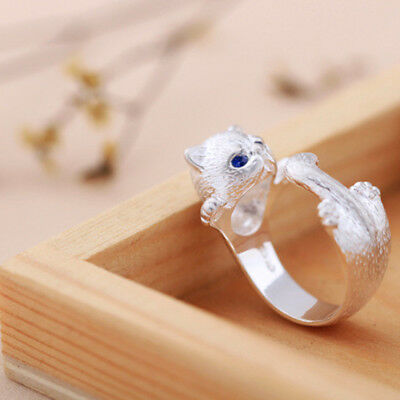 Women Chic Silver Plated Lovely Cat Kitten Opening Adjustable Ring Jewelry MA