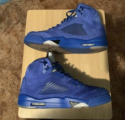 8b2d1af0de8 Nike Air Jordan V 5 Retro Blue Suede Game Royal/Black Size 13 136027 401
