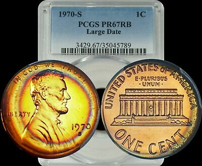 1970-S Lincoln Memorial Cent PCGS PR67 RB(Red-Brown) Red & Blue Target Toned