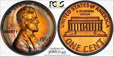 1968-S 1c LINCOLN MEMORIAL PENNY BU PCGS PR66RB CIRCLE TONED LOW POP!