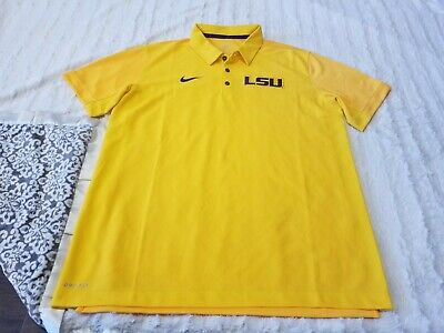 a887f996 Nike Dri-Fit Solid Yellow LSU Louisiana State Golf Polo Shirt Size XL NWOT