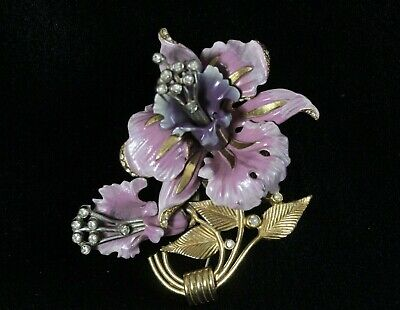Large Antique Art Deco Purple Orchid Enamel & Movable Rhinestone Trembler Brooch