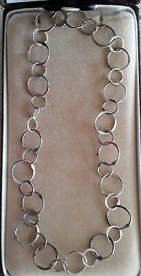 "Open Circle Sterling Silver Link Chain Necklace Choker Handcrafted 13.5"" Vtg"