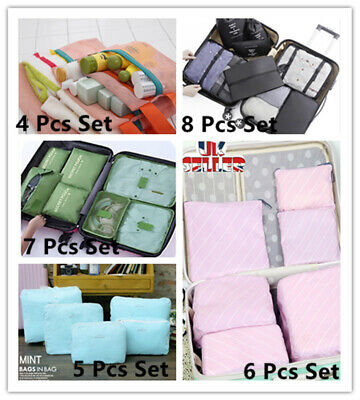 4,5,6,7,8 Pieces Organiser Set Luggage Suitcase Storage Bags Packing Travel Cube