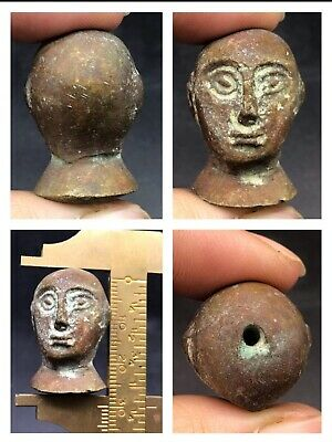 Very Unique Unseen Old Bactrian King Bronze Male Head Wonderful Bead