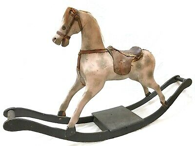 1850 S  Antique Original Hand Carved and Painted Wood Rocking Horse