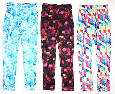 SO Girls Leggings Yoga Pant Blue Tiedye, Floral or Geometric Size 7/8 New $28