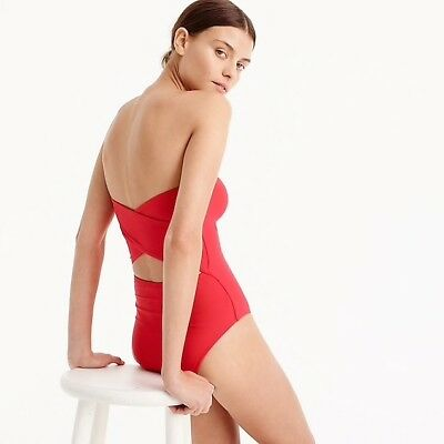 d4a8a9c8fc4b9 J.Crew Womens Bandeau One Piece Swimsuit Halter Strapless Cross Back Red Sz  2 XS