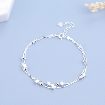 Real 925 Sterling Silver Star Anklet Box Chain Bangle SOLID SILVER Jewelry Italy