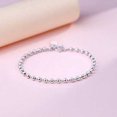 Real 925 Sterling Silver Ball Bead Bracelet Chain Bangle SOLID SILVER Jewelry