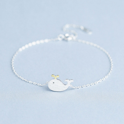 Real 925 Sterling Silver Cute Fish Bracelet Chain Bangle SOLID SILVER Jewelry