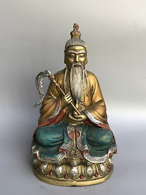 "10"" Chinese old antique bronze Cloisonne Lord Lao Zi of the Great Monad statue"