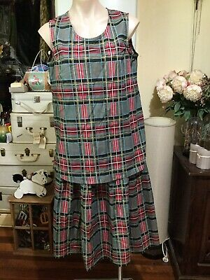 Vintage Pleated Skirt Top Green Red Blue Black Tartan Size L Cotton