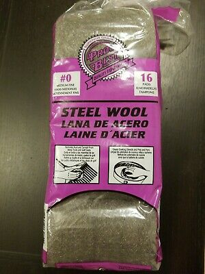 Pros Best 16 Steel Wool Pads Grade #0 - Medium Fine - Cleaning and Removing