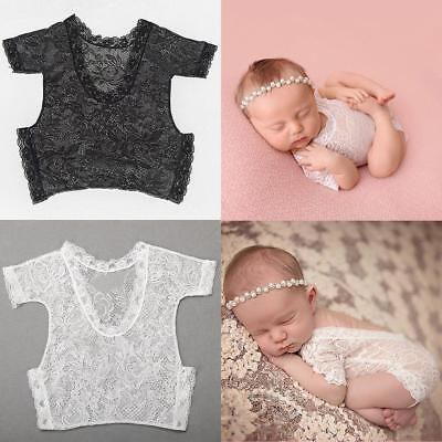 Infant Baby Bodysuit Romper Lace Floral Photo Photography Prop Costume MA