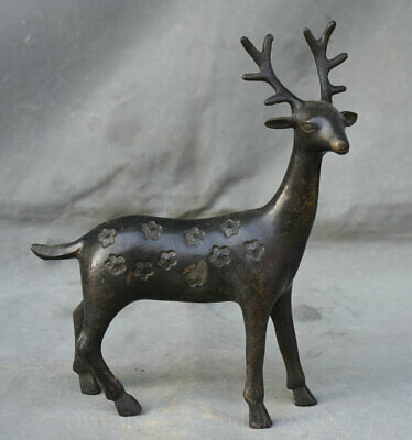 "9.6"" Old Chinese Xizhou Dynasty Bronze Ware Sika Deer Spotted Statue Sculpture"