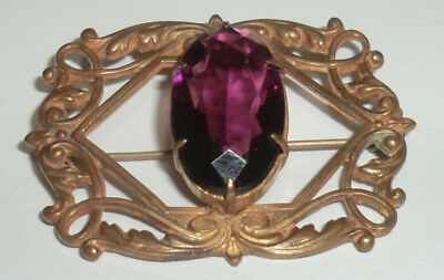 Vintage Victorian Art Nouveau Sash Pin Brooch Faceted Amethyst Glass & Brass