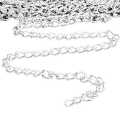 4m Unfinished Bulk Chains Necklace Wholesale Silver Curb Chain 0.8x3x4mm CA