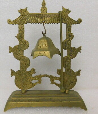 Vintage or Antique Chinese brass dragon pagoda dinner table bell gong