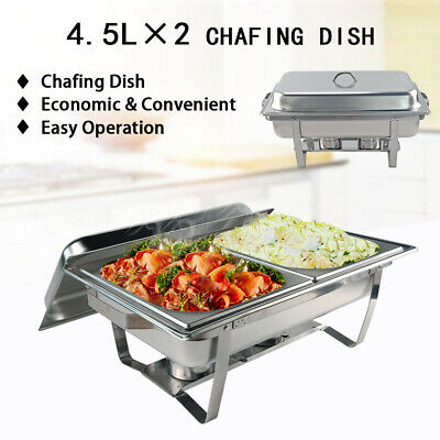 4.5Lx2 Bain Marie Bow Chafing Dish Stainless Steel Buffet Food Stackable Set AU